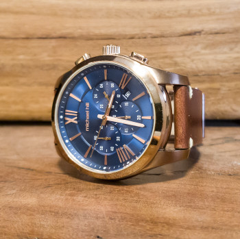 Michael Hill Chronograph Rose with Blue Face Watch 9533 RRP $449 #55102