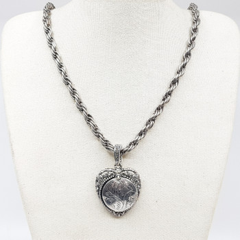 Sterling Silver Marcasite Heart Locket Pendant on Rope Chain Necklace #55420