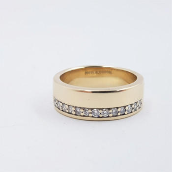 9ct Yellow Gold 0.32ct TDW Diamond Channel Ring Wide Band Size O1/2 #54164