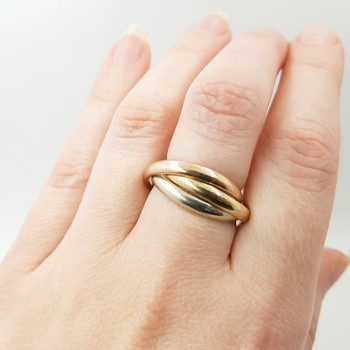 9ct 3 Tone Gold Russian Wedder Ring Band Size N 375 #55265