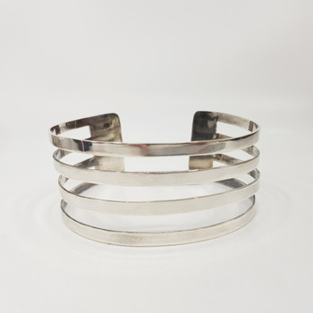 Large Sterling Silver 4 Row Cuff Bangle #55032