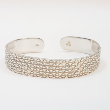 Sterling Silver Patterned Cuff Bangle #44880