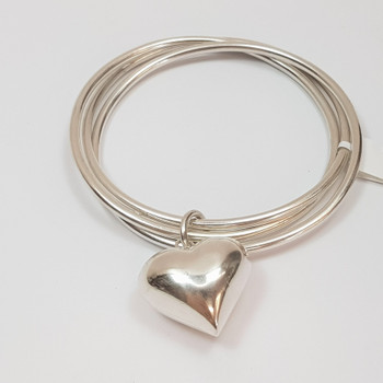 Sterling Silver Round 3 Bangle with Love Heart Puff Charm #47051