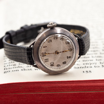 This vintage watch has a Centaur swiss wind up movement and sterling silver case