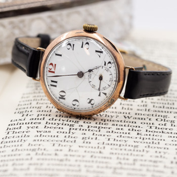 Antique 9ct Rose Gold Manual Watch Engraved C/1915 *Serviced* 375 #6492