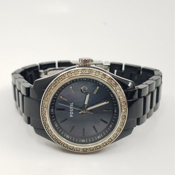 Fossil Stella ES2436 Mother of Pearl Dial Black Watch #52239