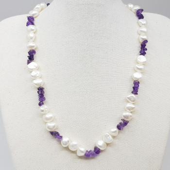 Sterling Silver Amethyst & Pearl Necklace 43cm #55417
