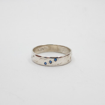 Sterling Silver Blue Stone Band Ring Size R 925 #54352