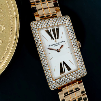VACHERON CONSTANTIN 1972 CAMBREE 18CT PINK GOLD & DIAMOND BEZEL LADIES WATCH 25515 #47053