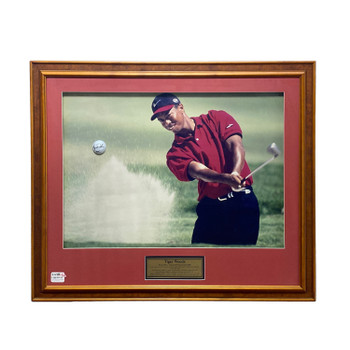TIGER WOODS FRAMED PICTURE & SIGNED GOLF BALL WITH COA  #48859
