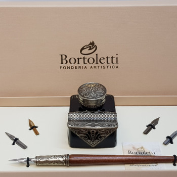 BORTOLETTI SET 65 WRITING SET WOODEN PEN & INKWELL (WITH INK) & PENREST #45528