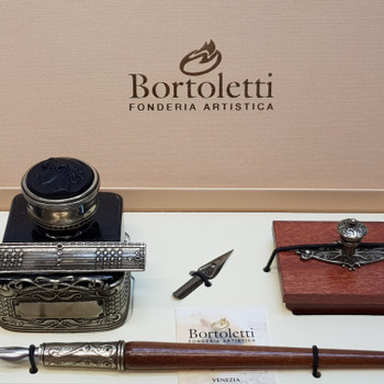 BORTOLETTI PEN SET 61 WRITING SET WOODEN PEN INKWELL (WITH INK) PENREST & BLOTTER #45526