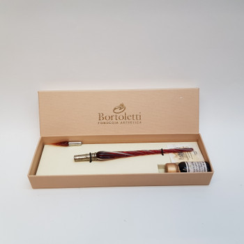 BORTOLETTI SET 32 WRITING SET MURANO GLASS PEN TWISTED WITH GLASS NIB ROSSO/RED #45537-6