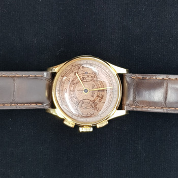18K SOLID GOLD BREITLING MANUAL CHRONOGRAPH WATCH C/1949 VINTAGE #48432