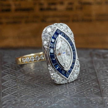 18ct Gold Vintage Style Marquise Diamond & Sapphire Ring Val $29300 Size N 1.6ct (+.74CT)