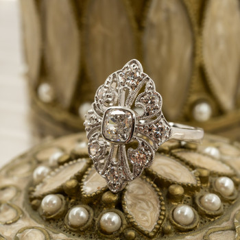 *NEW* 18CT 1.01CT VINTAGE STYLE WHITE GOLD DIAMOND RING + VAL $21755 #43532