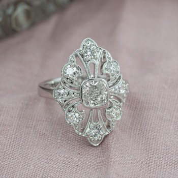 New vintage style white gold diamond engagement and cocktail ring
