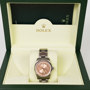 ROLEX AUTOMATIC OYSTER PERPETUAL 31MM WATCH 177200 PINK DIAL + BOX/PAPERS #50881