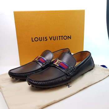 LOUIS VUITTON HOCKENHEIM MOCASSIN SHOES ND0118 BLACK + BOX + DUST BAG #50669