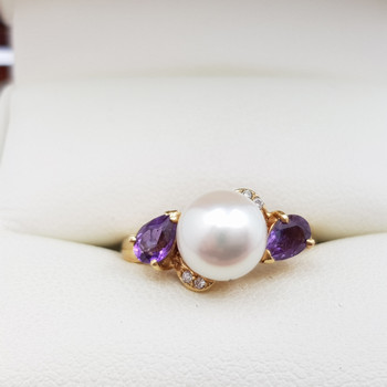 18CT PEARL AMETHYST & DIAMOND YELLOW GOLD RING+VAL $1655 SIZE K #40360