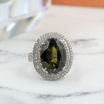 18CT 10.68CT NATURAL SAPPHIRE & DIAMOND WHITE GOLD RING VAL $25425 SIZE M NEW #37822