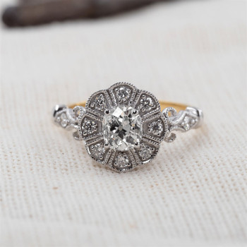 18CT 0.92CT ANTIQUE CUSHION H/SI1 DIAMOND YELLOW GOLD RING VAL $11085 SIZE N NEW #47222