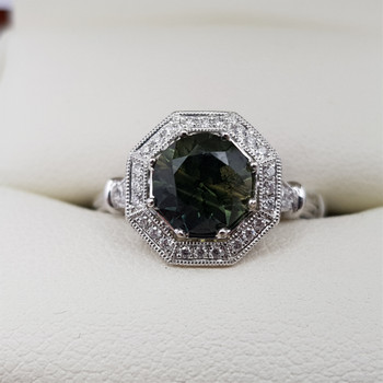 18CT PARTI SAPPHIRE & DIAMOND WHITE GOLD RING VAL $4200 SIZE N -NEW #47714