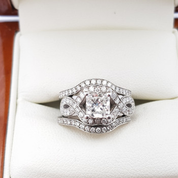 18CT DIAMOND RING SET VAL $19280 WHITE GOLD SIZE J #50886