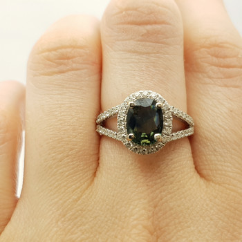 18CT NATURAL SAPPHIRE & DIAMOND WHITE GOLD RING +VAL $5285 SIZE M NEW #190252