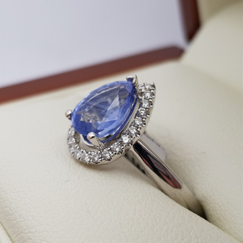 18CT SAPPHIRE & DIAMOND WHITE GOLD RING VAL $4850 SIZE M NEW #190272