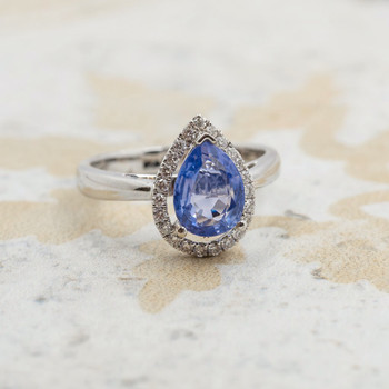 *New* 18ct White Gold Halo Sapphire & Diamond Ring Val $4850 Size M #190272