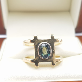 18CT 8.3GR NATURAL SAPPHIRE YELLOW GOLD RING VAL $3745 SIZE M #5353
