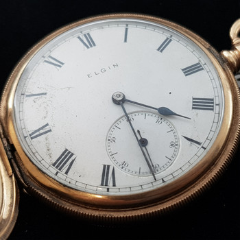 ELGIN SOLID 10CT YELLOW GOLD C/1913 POCKET FOB WATCH #9022