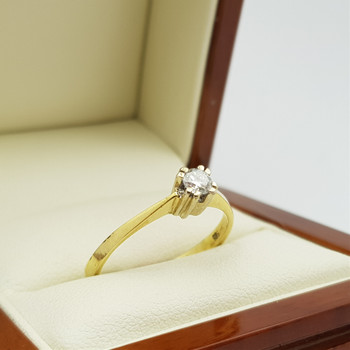 14CT 2.6GR YELLOW GOLD 0.24CT G/SI2 DIAMOND RING SIZE R VAL $2260 #3927