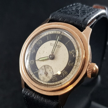 VINTAGE 9CT VICEROY WATCH WITH LEATHER BAND #48939