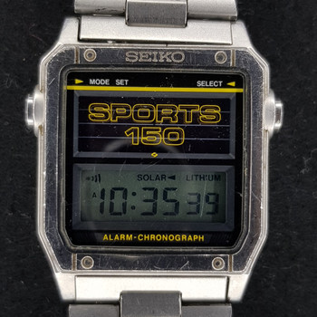 This Seiko Sports 150 has that classics 70's style. It has a solar powered quartz movement and LCD screen.