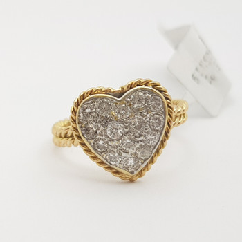 18CT 2.8GR TWO TONE GOLD 0.40CT DIAMOND HEART RING VAL $3055 SIZE I #6220