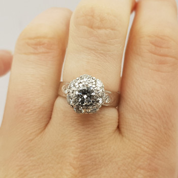 18CT 5.0GR WHITE GOLD 1.4CT CLUSTER DIAMOND RING VAL $6725 SIZE L 1/2 #4659