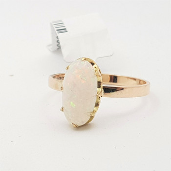 9CT 2GR YELLOW GOLD OPAL CABOCHAN RING SIZE M #200096