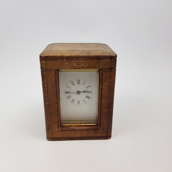VINTAGE CARRIAGE CLOCK IN LEATHER CASE #47917