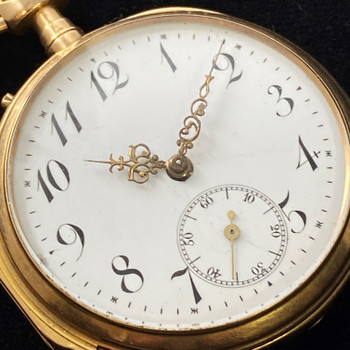 18CT 83.6GR YELLOW GOLD POCKET/FOB WATCH - LOUIS XIV HANDS #51769