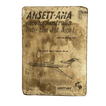 Vintage Retro Ansett-Ana Airline with Boeing 727 Plane Sign #46632
