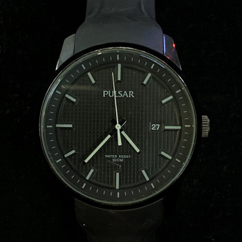 PULSAR BLACK QUARTZ WATCH 270316 - RUBBER BAND #49802