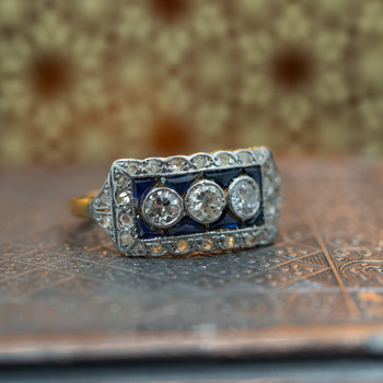 18CT 3.0GR TWO TONE ANTIQUE SAPPHIRE & DIAMOND RING VALUED $5700 #46102