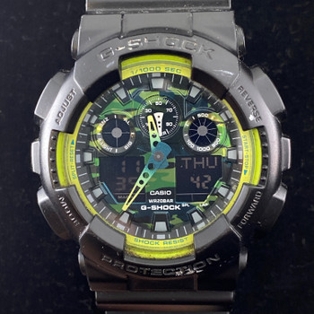 CASIO G-SHOCK WATCH - BLACK & GREEN GA100LY #51712