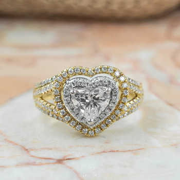 18CT 2-TONE GOLD 1.74CT LOVE HEART DIAMOND RING + GIA CERT & VAL $21100 SIZE S
