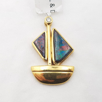 18CT 5.3GR YELLOW GOLD BOULDER OPAL & DIAMOND BOAT PENDANT VAL $2500 #6256