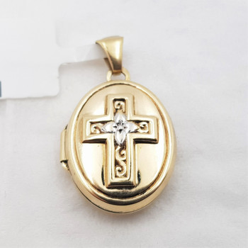 9CT 1.0GR TWO TONE GOLD CROSS LOCKET PENDANT / CHARM #48769 **