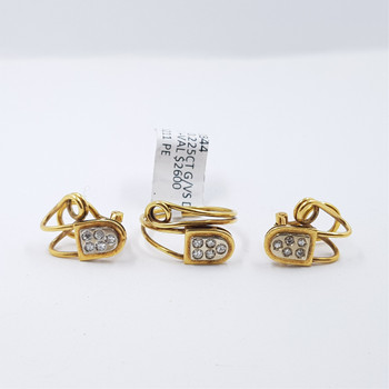 18CT 8.1GR TWO TONE GOLD DIAMOND RING & EARRINGS SET VAL $2600 #0344