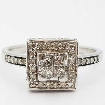 9CT WHITE GOLD DIAMOND SQUARE CLUSTER RING SIZE S1/2 #35288